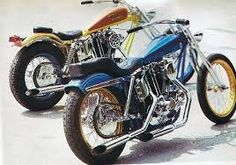 two ironhead sportster swingarm customs, one blue with gold rims, the other yelow & red Harley Davidson Chopper, Harley Davidson Motorcycles, Custom Motorcycles, Custom Bikes, Ironhead Sportster, Classic Bikes, Classic Cars, Digger, Album