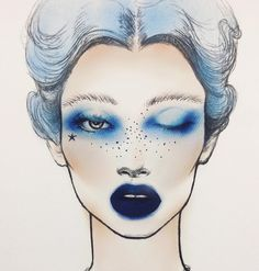 "Look I designed using Pastel Goth, Holographic Alchemist, and Metal Matte Palette, with Everlasting Liquid Lipstick ""Echo"" for lips & speckles 💙💘💙 *please feel free to reacreate and tag Cool Makeup Looks, Bridal Makeup Looks, Blue Makeup Looks, Wedding Makeup, Makeup Inspo, Makeup Inspiration, Makeup Ideas, Metal Matte Palette, Monochromatic Makeup"
