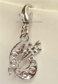 Silver Plated Artists Palette Charm Artist Pallet Art Teacher Gift USA Seller #Unbranded