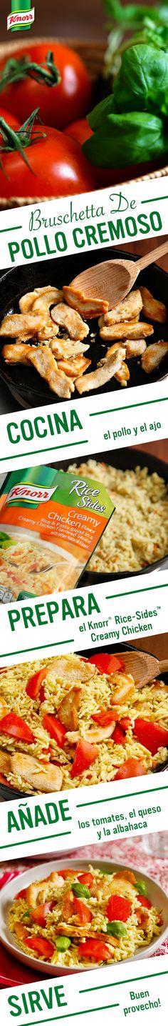 ¿Una cena casera por la familia esta noche? Descubre los sabores ricos de ingredientes italianos como tomates frescos, ajo delicioso, y albahaca aromática en esta receta para Bruschetta de Pollo Cremoso por Knorr. Sigue estos pasos fáciles: 1. Cocina el pollo y el ajo en un sartén. 2. Prepara el Knorr® Rice Sides™ - Creamy Chicken. 3. Añade los tomates. Ponle el queso y la albahaca. 4. Sirve. ¡Buen provecho!