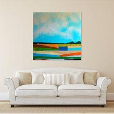Barn Painting, Farm Painting, Farm Landscape, Abstract landscape, Farmhouse, Farm, White Barn, Abstract landscape painting, Free Shipping