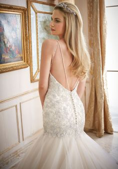 Crystallized Embroidery on Tulle Wedding Dress Designed by Madeline Gardner. Colors Available: White/Silver, Ivory/Silver, Light Gold/Silver