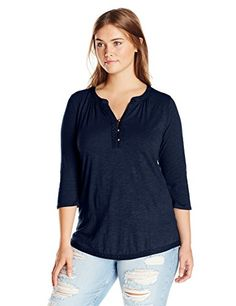 d462db0e Lucky Brand Women's Plus-Size Woven Mix Top, American Nav-$42.00 Lucky Brand