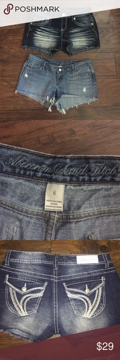 Abercrombie and Fitch with bonus 2 pairs of jean shorts Abercrombie and Fitch size 6 and another pair of NWOT dark denim with thick stitch back pocket jean shorts in a size 5/6 great little bundle Abercrombie & Fitch Shorts Jean Shorts