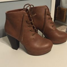 Tie up Ankle Boot Cognate Brown Size 8 worn once! Surprisingly comfy. Charlotte Russe Shoes Ankle Boots & Booties