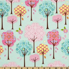 Pretty Little Things Trees Blue from @fabricdotcom  Pretty Little Things by Dena Designs for Free Spirit. This fabric is perfect for quilting, craft projects, apparel and home decor accents. Colors include white, brown, orange, lime, pink, yellow and teal on a light blue background.