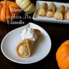 """I would like to take this moment to clarify that these cute little things are not actual """"cannolis"""" either. They just happened to take the shape of a cannoli, and also happened to be filled with a light pumpkin pie mousse… so yeah, Skinny Pumpkin Pie Cannolis."""