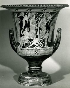 Pottery: Attic (?) red-figured calyx-krater: Aphrodite with Paris and Helen (back: Garden of the Hesperides).