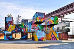 Village Underground Lisboa - Abandoned shipping containers turned into a creative hub and outdoor event space on Lisbon's northern edge by CH Contributor in Culture on 22 August 2014 by Ross Belfer -Coolhunting.com