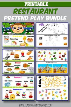 Awesome Pretend Play menu from the Ultimate Restaurant Pretend Play bundle for kids.