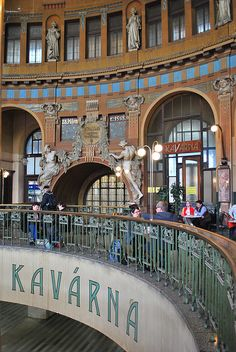 Cafe at Prague's Art Nouveau Main Train Station, Czech Republic