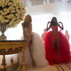 Victoria's Secret Angels Behati Prinsloo and Lais Ribeiro at 2014 Victoria's Secret holiday shoot