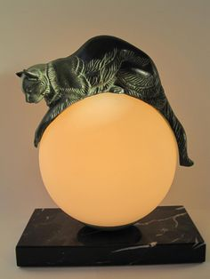 """Equilibre"" -lamp by Max Le Verrier after Gaillard (French School, early 20th…"