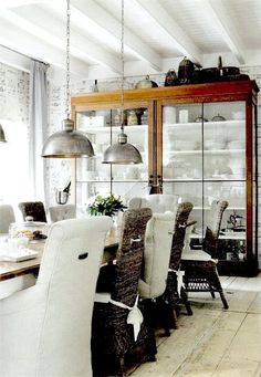 {white and wood rustic vintage industrial modern dining room}
