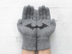 Halloween Gloves Steel Gray Gloves Bat Gloves by talkingloves, an Etsy shop based in Istanbul, Turkey