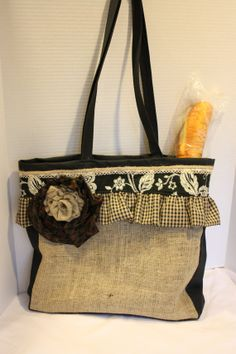 Large Burlap Tote with Black on Etsy, $65.00