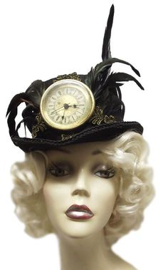womens steampunck hats | Time Keeper Ladies Black Steampunk Top Hat by JenkittysCloset