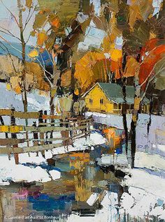 Iosif Derecichei, 'Meet me at the Yellow House', x Galerie d'art - Au P'tit Bonheur - Art Gallery Watercolor Landscape, Landscape Art, Watercolor Art, Art Gallery, Winter Painting, Yellow Houses, Contemporary Landscape, Acrylic Art, Beautiful Paintings