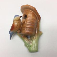 Czechoslovakian Art Pottery Wall Pocket Vase Bluebird On Tree With Birdhouse  | eBay