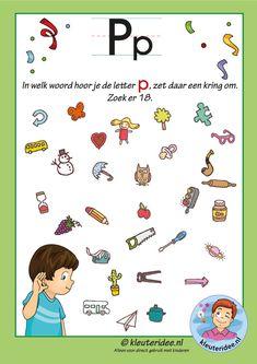Pakket over de letter p blad 8, in welk woord hoor je een p, letters aanbieden aan kleuters, kleuteridee, free printable