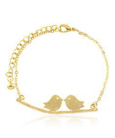 Gold Love Doves Bracelet #zulily #zulilyfinds