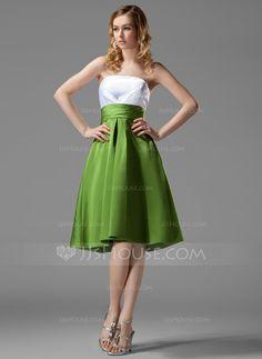 Bridesmaid Dresses - $92.99 - Empire Strapless Knee-Length Satin Bridesmaid Dress With Ruffle (007004122) http://jjshouse.com/Empire-Strapless-Knee-Length-Satin-Bridesmaid-Dress-With-Ruffle-007004122-g4122