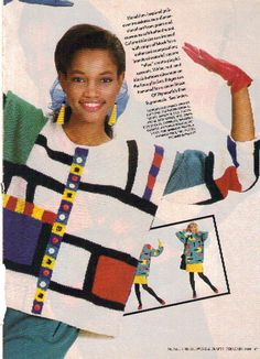 Picture from knitting pattern for Mondrian inspired jumper
