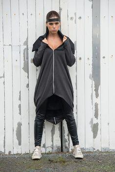 Asymmetrical Loose Jacket / Grey Tunic Top / by Metamorphoza