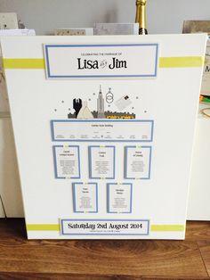 New York Themed Wedding Table plan