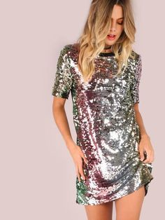 sequins sparkle silver dress, New Years Dress, Holiday Party Dress - Lyfie