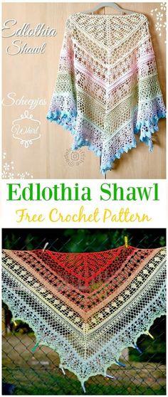Crochet Edlothia Shawl Free Pattern - #Crochet; Women #Shawl; Sweater Outwear Free Patterns