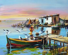 Ostáriz Art Gallery: Christian Jequel - Hobbies paining body for kids and adult Watercolor Landscape, Landscape Art, Landscape Paintings, Seascape Paintings, Watercolor Paintings, Art Gallery, Boat Art, Boat Painting, Pictures To Paint