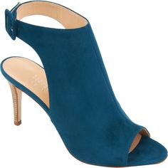 """Suede peep toe glove sandal with adjustable halter ankle strap. 3.25"""" heel (85mm) Leather sole. Available in Dark Turquoise. Made in Italy."""