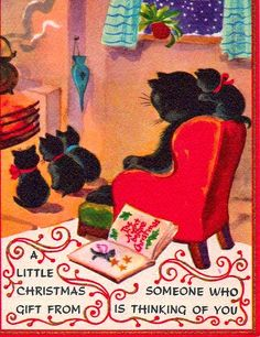 Luv! Vintage Christmas Card ~ Cozy Cat Family! Coral & Orange Accents