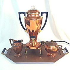 1920s Universal 4 Piece Electric Copper Coffee Service