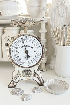 Beautiful vintage/shabby chic white and cream kitchen toys and crockery. #vintage #kitchen #scale