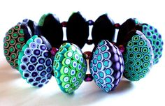Polymer Clay Bracelet: Green to Violet by SilviaOrtizDeLaTorre