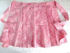 Retro Hostess Apron Pink Pleated Paisley Unused Mint Vintage Kitchen Linens