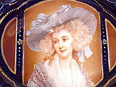 RS PRUSSIA COBALT/GOLD PORTRAIT TRAY