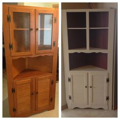 Hutch painted with Annie Sloan old white and primer red. It is 90% done had to make some adjustments to the top doors