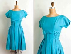 vintage 1950s dress / 50s aqua bow party silk rayon by SwaneeGRACE, $178.00