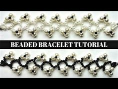 DIY Floral Bracelets. How to make a black and white beaded bracelet with pearls. - YouTube