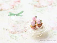 Dollhouse Miniature Food  Buttermilk Pink Peonies Cupcakes