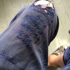 French indigo repair Mended Bleu de Travail.