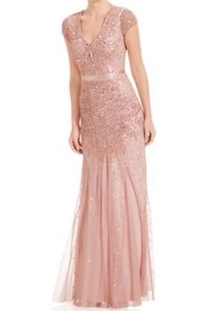 New with tag $299 Adrianna Papell Cap-Sleeve Embellished Gown Sz 14 #AdriannaPapell #BallGown #Cocktail