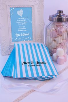 100 Personalised Blue Stripe Sweet Bags Candy Cart Wedding Favours VARIOUS FONTS