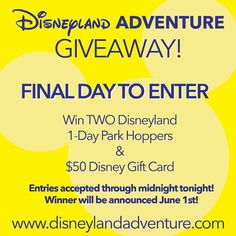 Don't miss your chance to win two Disneyland 1-Day Parkhopper passes and a $50 Disney Giftcard! Winner will be announced tomorrow morning LIVE of Periscope @dlandventure at Disneyland! Link to enter in profile. Good luck!!!! o o o o o o o  #disneygiveaway #disneyland #disneycaliforniaadventure #disneylandresort #disneyparks #disneyland60 #mickeymouse #waltdisney #hyperiontheater #diamondcelebration by matterhornmondays