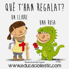 Què t'han regalat, un llibre o una rosa? Saint George, Fairy Tales, Creations, Children, Illustration, Barcelona, Crafts, Fictional Characters, Lifestyle