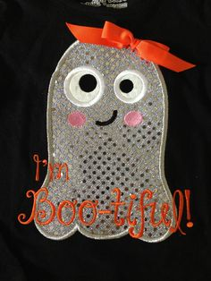 Long Sleeve Tee with Shiny Silver Ghost Applique I'm Boo-tiful! by littlehcdesigns on Etsy
