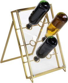 Decmode Modern 17 X 11 Inch Metal And Acrylic Wine Holder, Gold